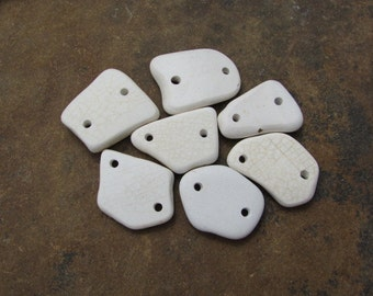 Rustic White CERAMIC Beach Glass CONNECTORS Sea Glass Pottery LINKS Connectors