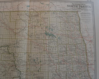 1899 State Map North Dakota - Vintage Antique Map Great for Framing 100 Years Old