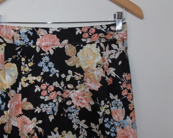 autumn floral...vintage fabric straight skirt with side seam pockets