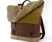 Herringbone and Moss Wool & Waxed Canvas Backpack