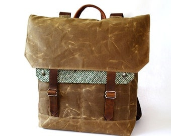 Waxed Canvas Backpack / Green Stripe Vintage Wool with Minimalist Leather Closure