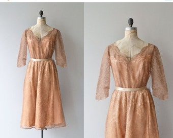 25% OFF.... Donizetti lace dress | vintage 1950s dress | eyelash lace 50s party dress