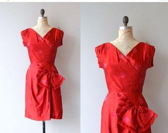 25% OFF SALE Cherchez la Femme dress | vintage 1950s dress | red silk 50s dress