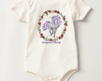 Lavender Unicorn American Apparel Organic Cotton Jersey Onesie 3-6 Months Old