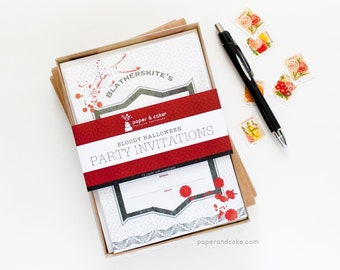 SHOP THE SHELF Bloody Halloween Fill-in style Invitations (Set of 12)  >> shipped to you | Paper and Cake