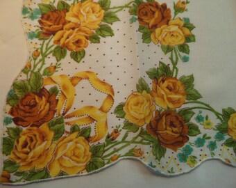 Vintage Hankie Large size Yellow Tan Roses Yellow Ribbon