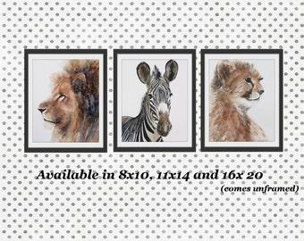 Giclee print Safari Nursery Art Nursery Print Baby Animal Prints Children Art Boys Room Wall Art Girls Room Watercolors 3 Cheetah Zebra Lion