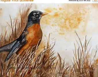 watercolor bird painting watercolor painting of Robin Bird art PRINT Large art print bird ROBIN PRINT robin art Print 11x14