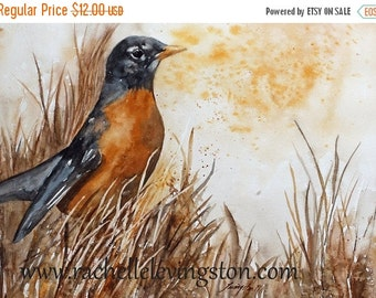 Watercolor painting of robin 5 x7 PRINT bird watercolor art bird artwork Painting of bird orange brown black family room decor small