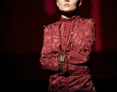 Bedlum's Beauty. Maroon Brocade Costume Straight Jacket