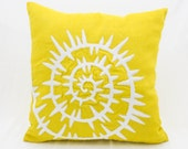 Sea Shell Throw Pillow Cover, Yellow Linen White Shell Embroidery, Nautical Decor, Sea Life Decor, Yellow White Cushion, Couch Pillow