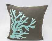 Nautical Coral Pillow Cover, Turquoise Coral Embroidery Taupe Brown Linen Pillow, Nautical Decor, Coral Reef Decor, Beach House throw pillow