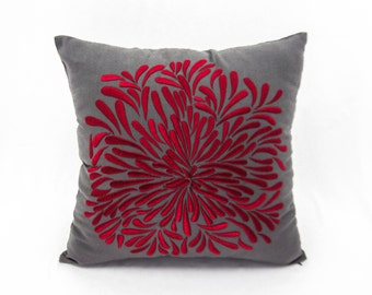Red Flower Decorative Throw Pillow Cover, Dark Gray Linen Red Chrysant, Embroidered Cushion, Holiday Decor, Christmas Home Decor, Red Pillow