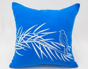 Bird Throw Pillow Cover, Royal Blue Linen Pillow White Bird on Bamboo Embroidery, Bird Decoration, Bamboo Pillow Case, Decorative pillow
