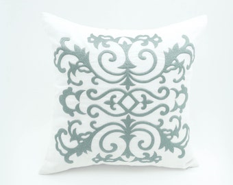 Damask Pillow Case, Silver Gray Damask Embroidery, White Linen Pillow, Modern Classic Home Pillow, White Gray Damask Decorative pillow