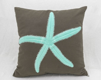 Starfish Decorative Throw Pillow Cover, Taupe Brown Linen Turquoise Starfish, Nautical Decor, Cottage Beach House Pillow, Couch Pillow Cover