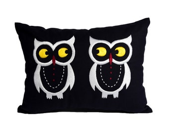 Owl Lumbar Pillow Cover, Bird Lumbar Throw Pillow, Navy Blue Linen Owl Embroidery, Owl Decor, Modern Contemporary home pillow