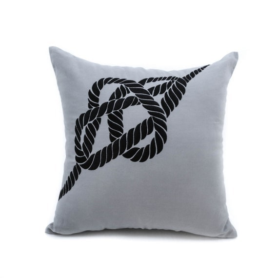 Nautical Rope Pillow Cover Decorative Pillow Cover Gray