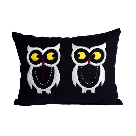 Owl Throw Pillow Etsy : Owl Lumbar Pillow Cover Bird Lumbar Throw Pillow Navy Blue