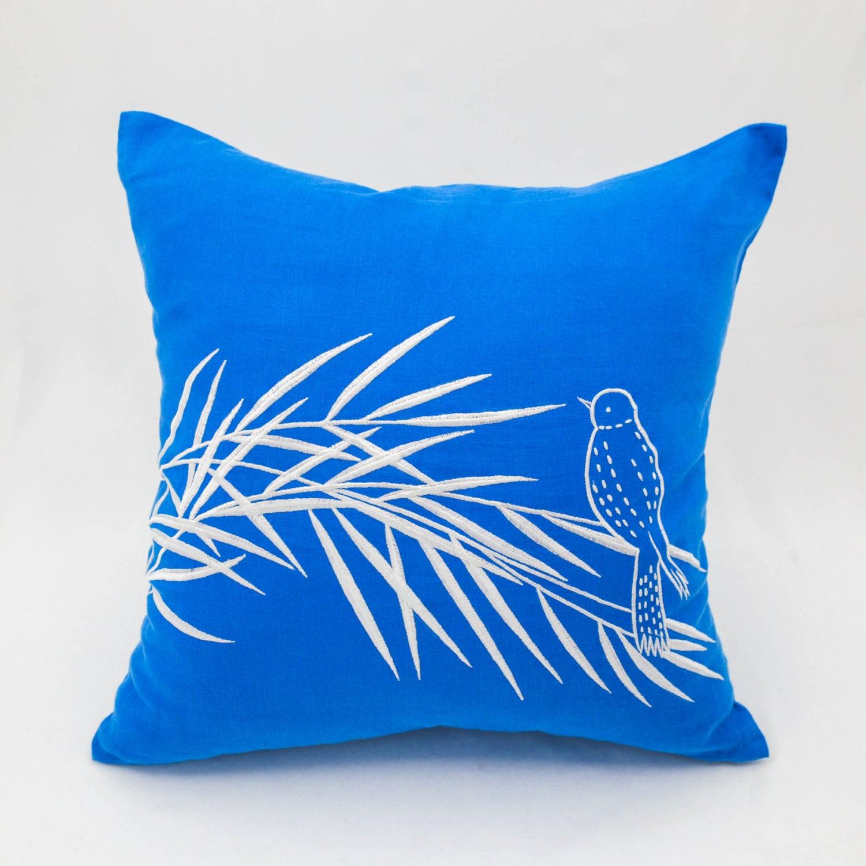 Bird throw pillow cover royal blue linen pillow white bird on for Royal blue couch pillows