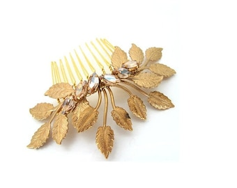 Gold leaf comb large wedding bridal hair comb wedding hair accessories