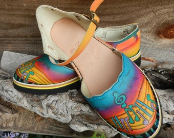 Sandals Leather Handmade Shoes - Cowhide Piano & Music. Sunrise, rainbow colored. Custom Made Size 5, 6, 7, 8, 9, 10