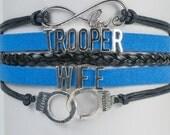Trooper Wife thin blue line Handmade Infinity Bracelet