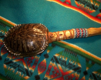 Turtle Shell Rattle-Dance Rattle-cedar handle