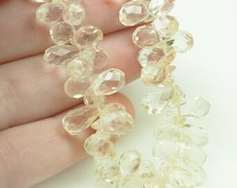 Pale golden CITRINE - briolette  teardrop faceted 3d gemstone beads 8-12mm - 6.5 inch strand - 58 pcs.