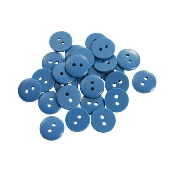 Set of 25 Smooth Round Plastic Buttons - The Simplest Dark Azure Blue (11mm)