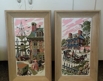 Scenes from the South - Pair of 1950's Southern Belle New Orleans Paint By Number Paintings