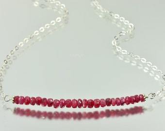 Silver Ruby Bar Necklace