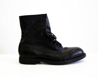 Size 10.5 M: Men's Vintage Black Leather Wolverine Combat Work Boots