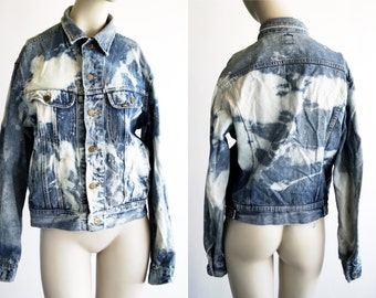 Vintage Lee Jeans Worn out Rock and Roll Bleached Up Unisex Denim Jacket