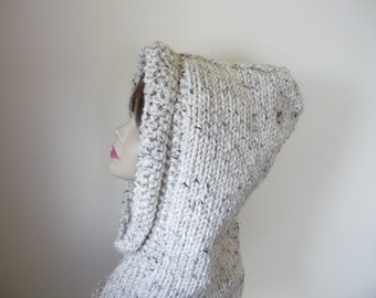 Hooded Cowl Teen/Adult  Chunky Knit Warm Wool Blend - Oatmeal - Ready to Ship - Direct Checkout