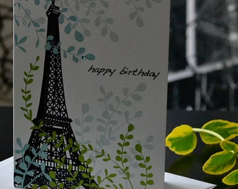 Birthday Eiffel Tower, Paris, Eiffel, Birthday Card, Sale, Leaf, Paris