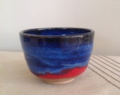 Yunomi, Tea Cup, Tea Bowl, Blue Red Tea Cup, handmade ceramic tea cup, pottery cup, Tea Lovers, Gift for Hi