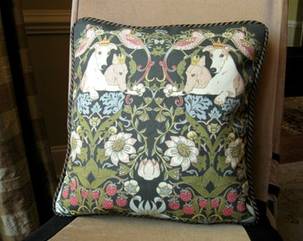 """Handmade cushion, pillow cover. Linen cotton canvas, Morris, Strawberry Thief, Greyhound, Whippet, IG. 16"""" square."""