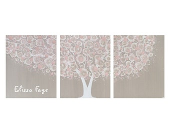 Personalized Name Art for Baby Girl Nursery - French Gray and Pink Tree Painting Canvas Triptych - Large 50x20 - MADE TO ORDER