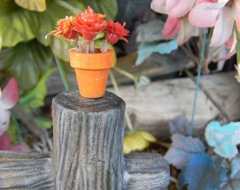 Terra cotta wood Flower  pot w Mums or skull, broom Miniature Fall Halloween  terrarium Dollhouse decor    pottery fall . fairy Garden decor