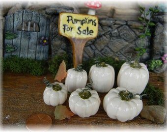 Ceramic pumpkin 1 White  with curly q  Fall  miniature terrarium Glazed pottery halloween .......Pick your own from the patch  PM