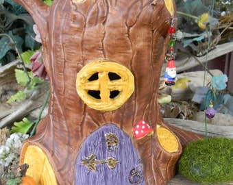 Tree stump Gnome & Fairy House Toad House - A Fairy Dream Home OOAK Functional frog house
