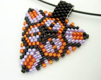 Peyote Triangle Pendant in Black Violet Orange Beadwoven Small Geometric Choker Seed Bead Beadwork