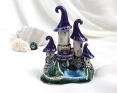 Reserved for Nancy - Purple lavender Castle  of tiny fairies with lake - Hand Made Ceramic Eco-Friendly Home Decor by studio Vishnya