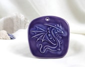 Reserved for Nancy - Magical purple Dragon (small ceramic wall picture) -- Hand Made Ceramic Eco-Friendly Home Decor by studio Vishnya
