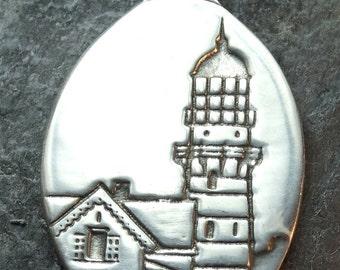 Lighthouse - Cape Elizabeth , Maine - Pewter Pendant -  Twin Light Houses, Seaside, Ocean Jewelry