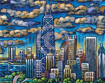 Chicago Skyline, view from Lincoln Park, Chicago spring, 8x10 Art Print by Anastasia Mak