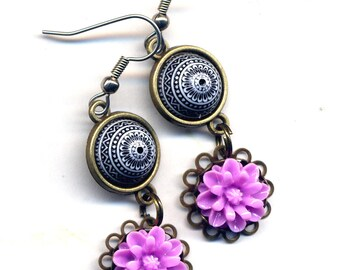 Tribal earrings, Fuschia Daisy Earrings, Flower Earrings, Pink Earrings, Black White Earrings, Nature Earrings, Surgical Steel Earrings