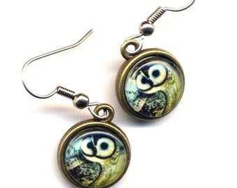 Owl Earrings, Surgical Steel Earrings , Little Owls in Blue and Caramel Earrings. Hoot Earrings