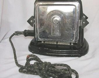 Vintage Bersted Art Deco Drop Door Flipper Toaster Black & Chrome